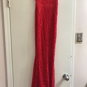 Red strapless prom dress with leg slit